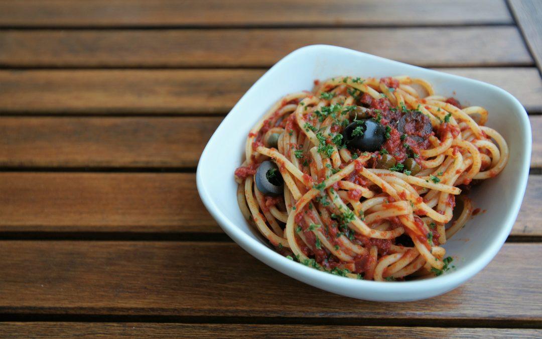 Spaghetti alla Puttanesca, a simple but tasty first course with a bizarre name